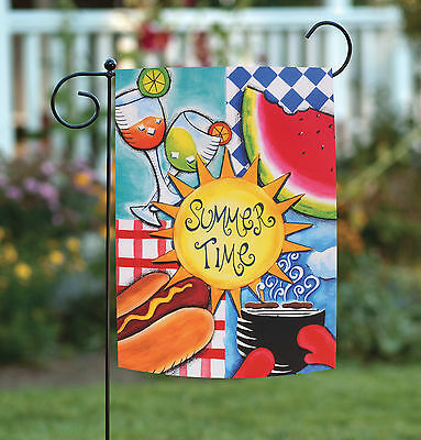 Toland Summer Fun 12.5 x 18 Colorful Picnic BBQ Sun Watermelon Garden Flag