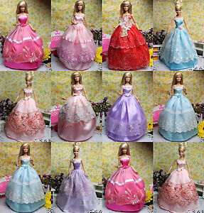 Lot 5 Pcs Fashion Handmade Clothes Dresses Grows Outfit For Barbie Doll