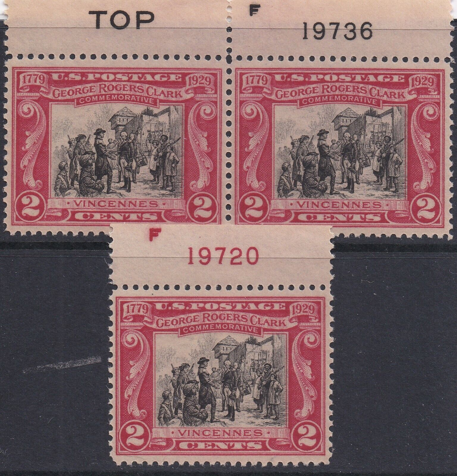 1929 Sc 651 George Rogers Clark, Fort Sackville Pl single And Pair 08191941 - $2.99