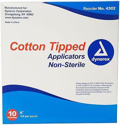 Dynarex Cotton Tipped Applicators 6 inch 1000 ea