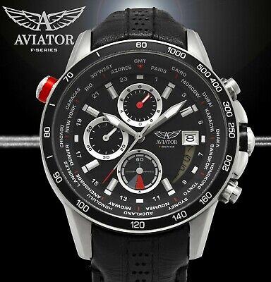 Pilot AVIATOR Watch Mens Aviators Flight Aviation Silver Waterproof Chronograph Aviator Pilot Chronograph Watch