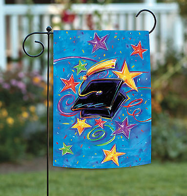 Toland Graduation Star 12.5 x 18 Cute Colorful Graduate Cap Garden Flag - Graduation Garden Flag