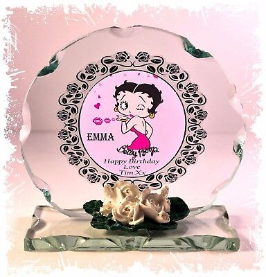 Betty Boop Round Glass - Betty Boop Personalised Birthday Cut Glass Round Plaque Special Edition #1