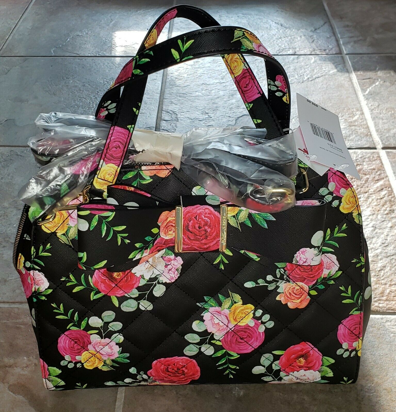Betsy Johnson Handbag Domed Satchel Black Floral Print With