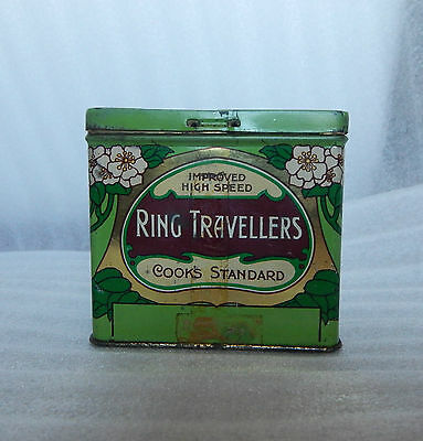 Art Nouveau Cook and Co Ring Travellers tin Manchester Social History 9x7x8 cm