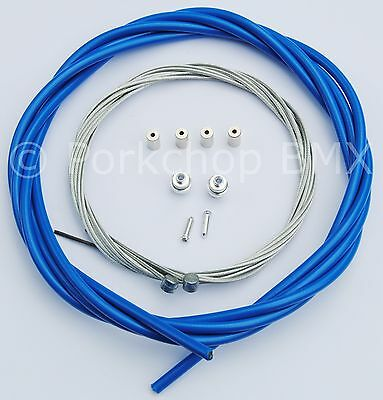 Bicycle 5mm LINED brake cable housing and hardware kit BMX MTB VINTAGE - BLUE 5 Mm Brake Housing