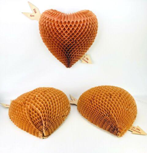 "Honeycomb Valentines Beistle Vtg Antique 1920s HUGE Honeycomb Heart 12"" LOT"