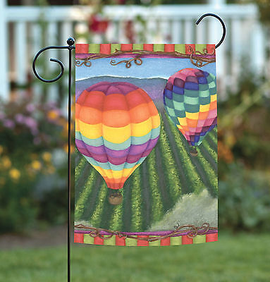 Soaring Hot Air Balloon - Toland Soaring 12.5 x 18 Colorful Hot Air Balloon Flying Garden Flag