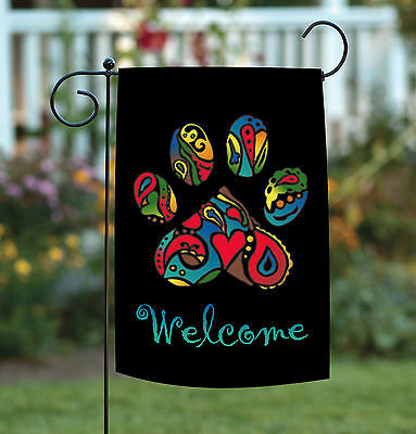 Toland Wacky Welcome Paw 12.5 x 18 Colorful Neon Cat Dog Pet