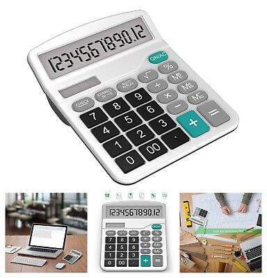 Standard Functional Desktop Calculator Electronic 12-Digit Solar and AA Battery
