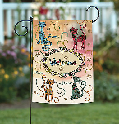 - Toland Meow Welcome 12.5 x 18 Kitty Cat Paw Colorful Swirl Garden Flag