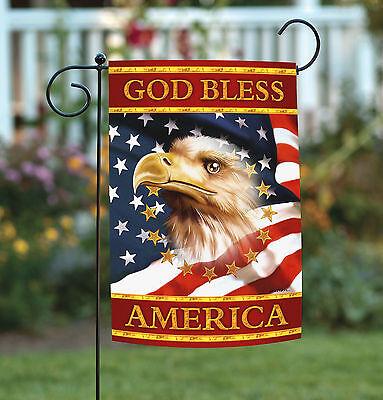 Toland God Bless America 12.5 x 18 Patriotic Eagle USA Stars Stripes Garden Flag Patriotic Garden Flag