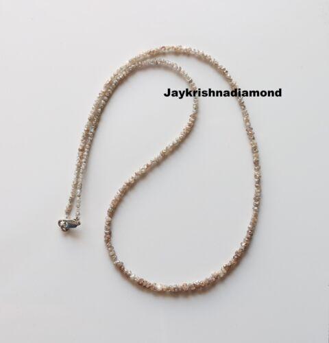 "20.09 CT 2.00 TO 3.00 MM Light Brown Rough Diamond Beads 16"" Strand Silver Lock"""