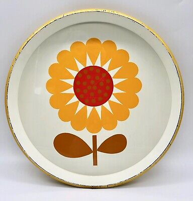 Vintage Flower Power Melamine Serving Tray Mod Retro Yellow Sunflower Round 13.5