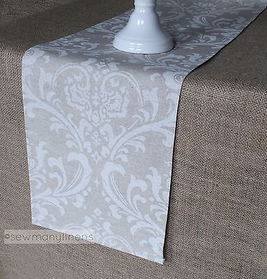 Tan Taupe Beige Ivory Table Runner Floral Table Centerpiece Dining Home Decor (Beige Table Runner)