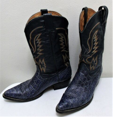 Vintage, Men, Blue, Alligator/Crocodile, Design, Cowboy, Western, Boots, Size, 10, -Used