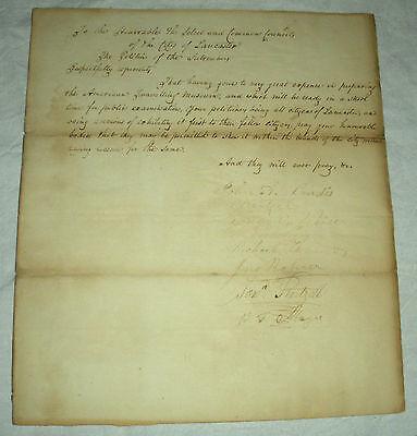 1835 PETITION EXHIBIT AMERICAN TRAVELING MUSEUM JOHN LANDIS LANCASTER PENNA vafo