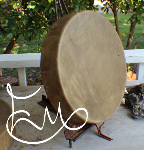 """15"""" Native American Elk hide hand Drum Cherokee made William Lattie Cert of Auth"""