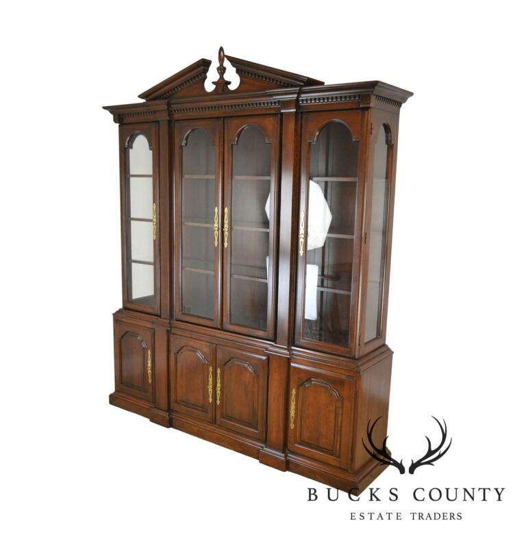 Harden Solid Cherry Chippendale Style Breakfront China Cabinet