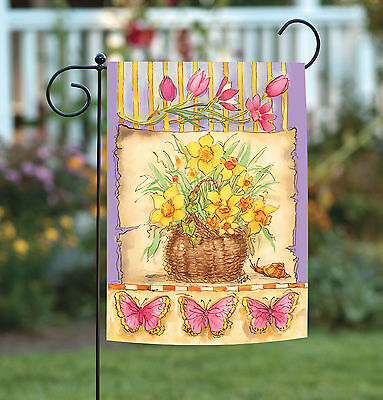 Toland Daffodil Basket 12.5 x 18 Colorful Spring Flower Butterfly Garden Flag
