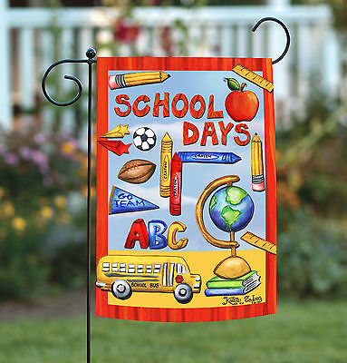 Toland Classroom Collage 12.5 x 18 Cute Red School Days Ruler Pencil Garden Flag