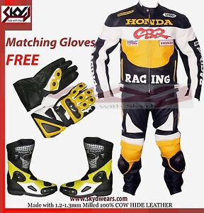 Honda-CBR-Yellow-black-Racing-Leather-Motorcycle-suit-Jacket-trouser-and-boots