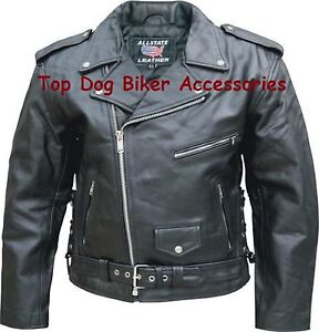 Mens-Biker-Motorcycle-Jacket-Cowhide-Leather-SideLaces-Full-sleeve-Zipout-liner