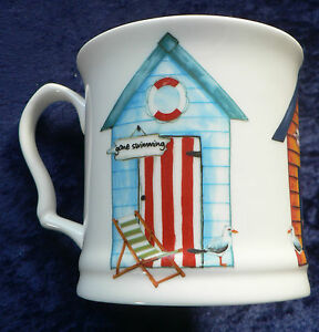 Beach Huts colourful fine bone china tankard large mug