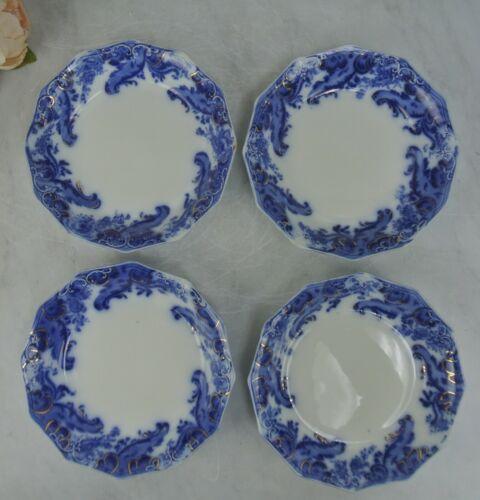 """Set of 4 Grindley Argyle Flow Blue Coupe Soup Bowls 8-3/4"""""""