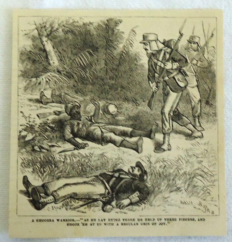 1882 magazine engraving ~ A GHOORKA (Gurkha) WARRIOR ~ warrior dying ~ Nepal