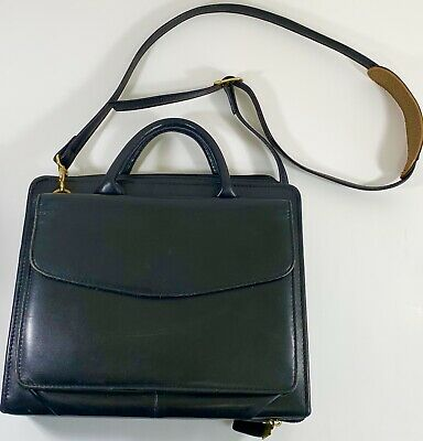 Franklin Covey Quest Black Full Grain Leather Binder Shoulder Satchel Purse Vgc