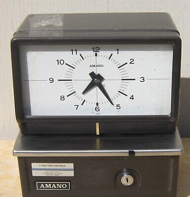 Vintage Amano Model 5336 Punch Card Time Clock With Key