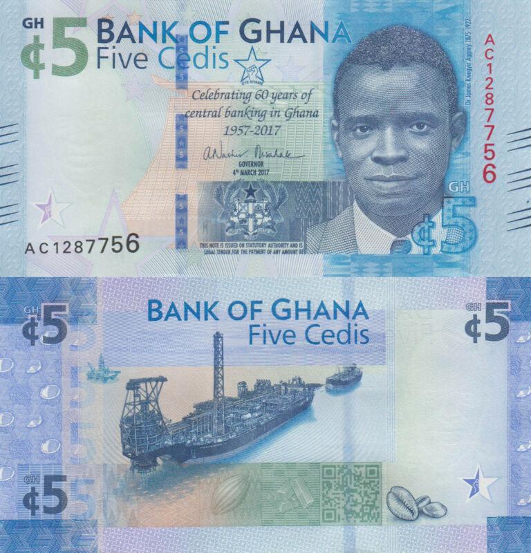 Ghana 5 Cedis (04.3.2017) - Commemorative/p43 UNC