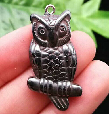 Owl Gift Bags (Black Hematite Carved Face Owl Bead Charm Pendant Free Gift Necklace)