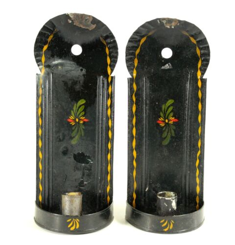 ^ Antique Victorian Punched Black-Painted Tin Tole Pair Sconces Candle Holders