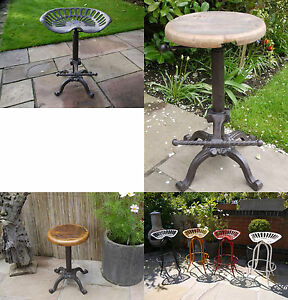 URBAN-VINTAGE-INDUSTRIAL-METAL-CAST-IRON-BAR-STOOLS-RECLAIMED-WOOD-TRACTOR-SEAT