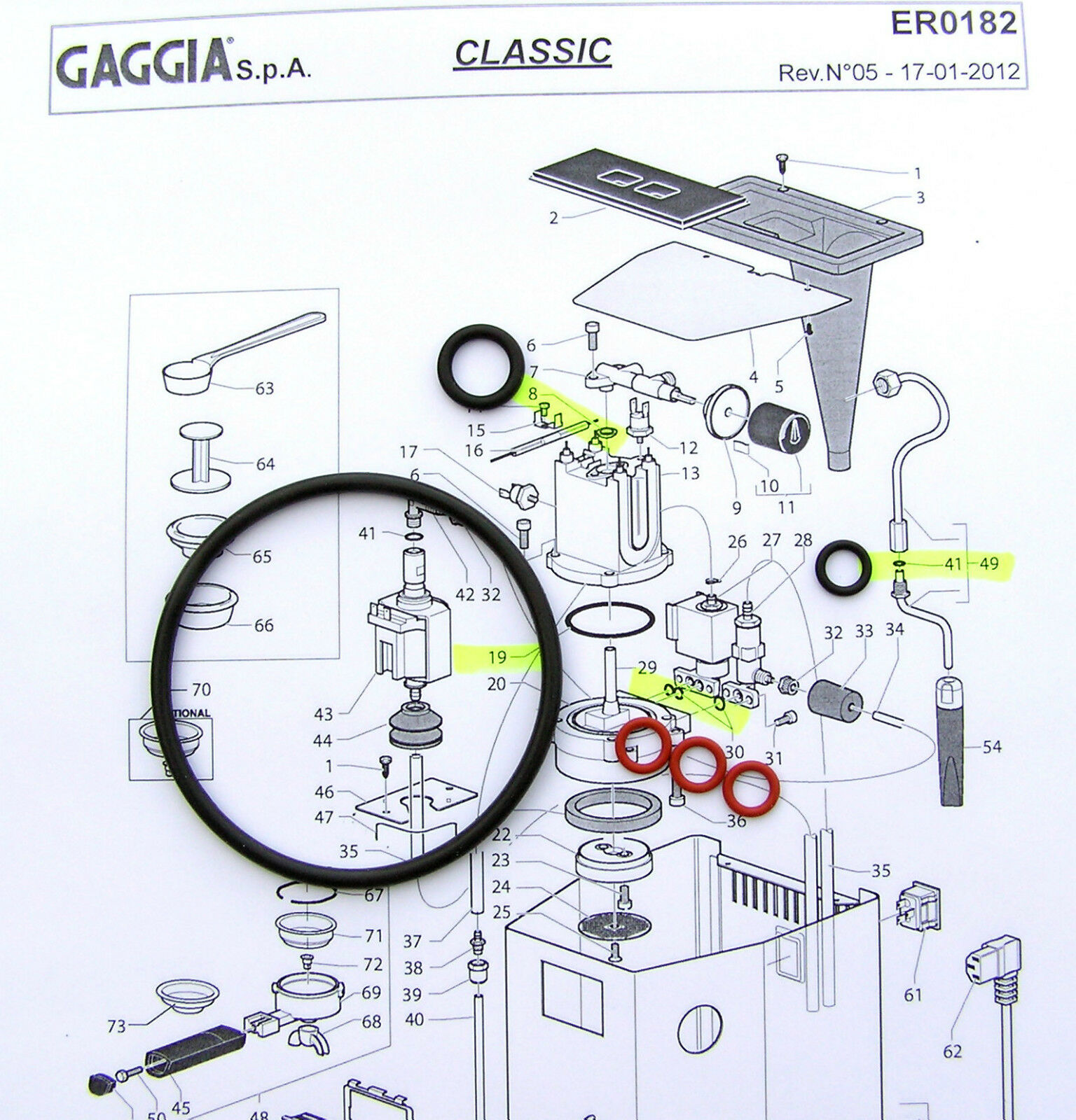 Gaggia Classic Baby Evolution O-Ring SERVICE KIT Boiler Seal