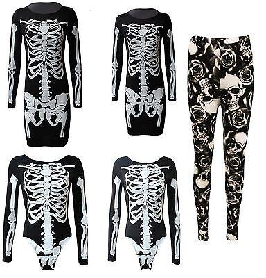 DONNA SCHELETRO TESCHIO ROSA HALLOWEEN LEGGING BODY VESTITO ATTILLATO TUNICA - Vestito Halloween