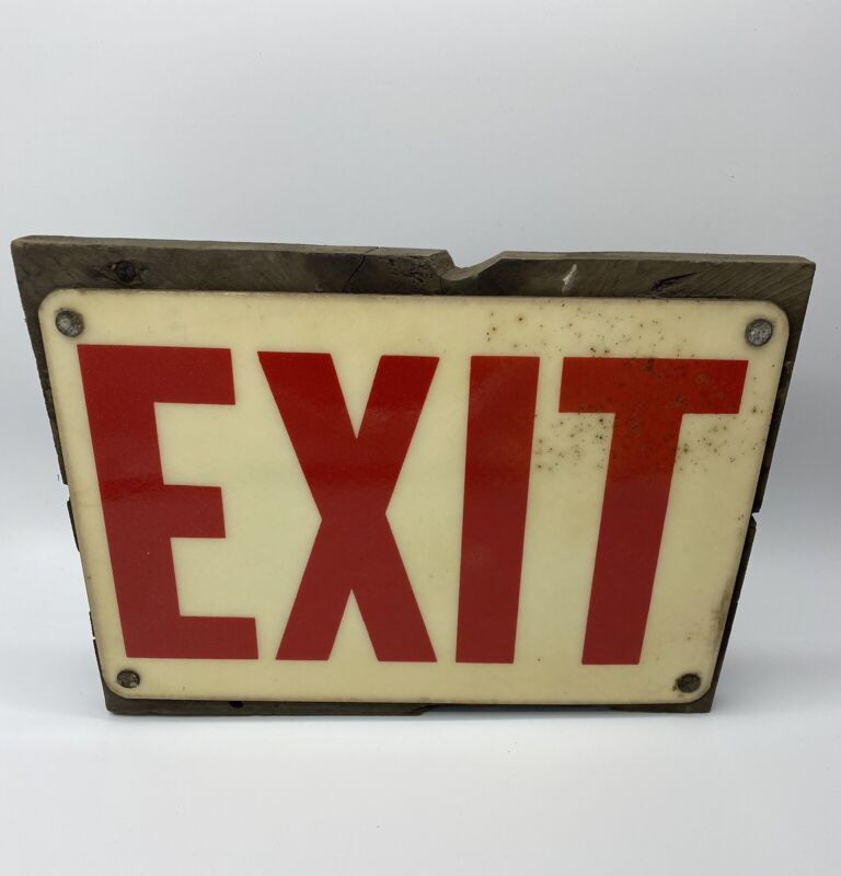Vintage Exit Sign attached to a piece of wood