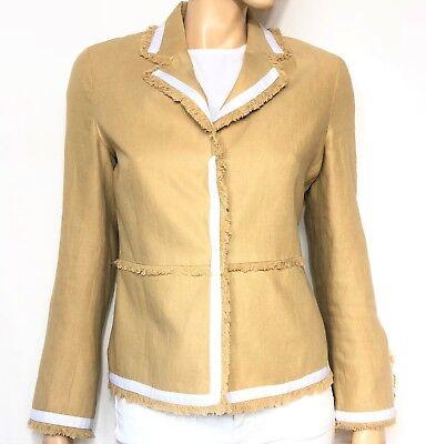 SCAPA camel linen blazer with white trims - size 38 jacket - veste lin