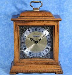 HOWARD MILLER Oak Mantel Clock 612-494, Westminster Chimes- Japan Quartz Mvt- EC