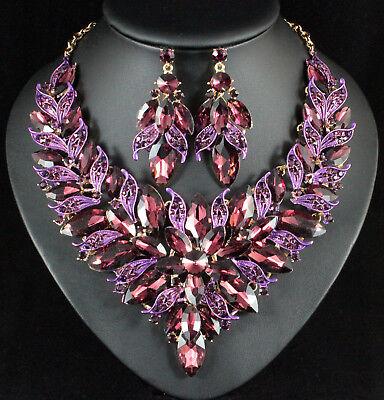 Luxury Purple Rhinestone Statement Bib Necklace Earrings Set N957P Gold Plated