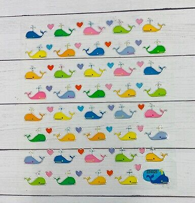 Colorful Whale & Hearts Stickers Papercraft Planner Supply Party DIY Crafts