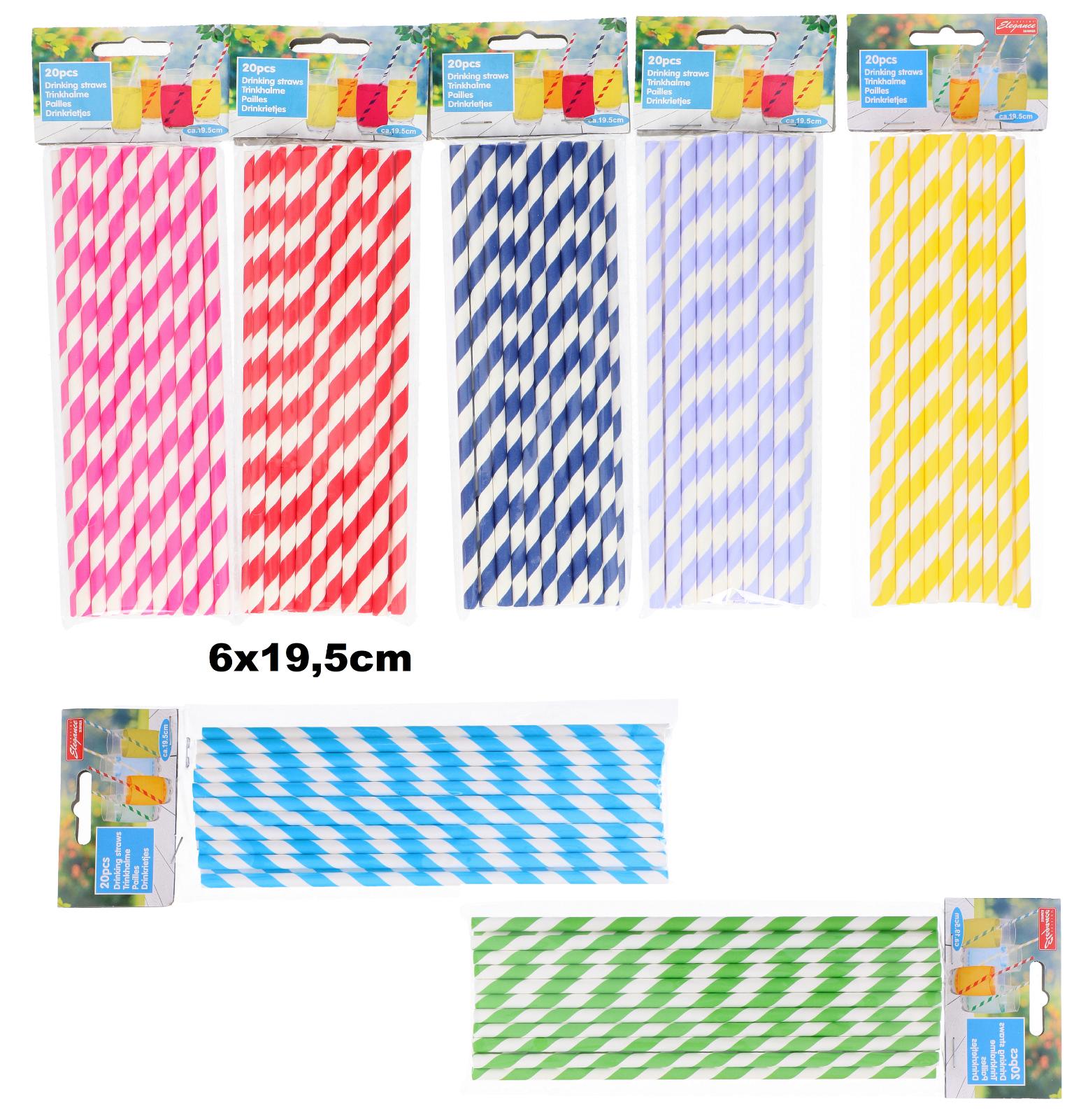 20 Papierstrohhalme Papier Trinkhalme Cocktail Strohhalme Nachhaltig Farbauswahl