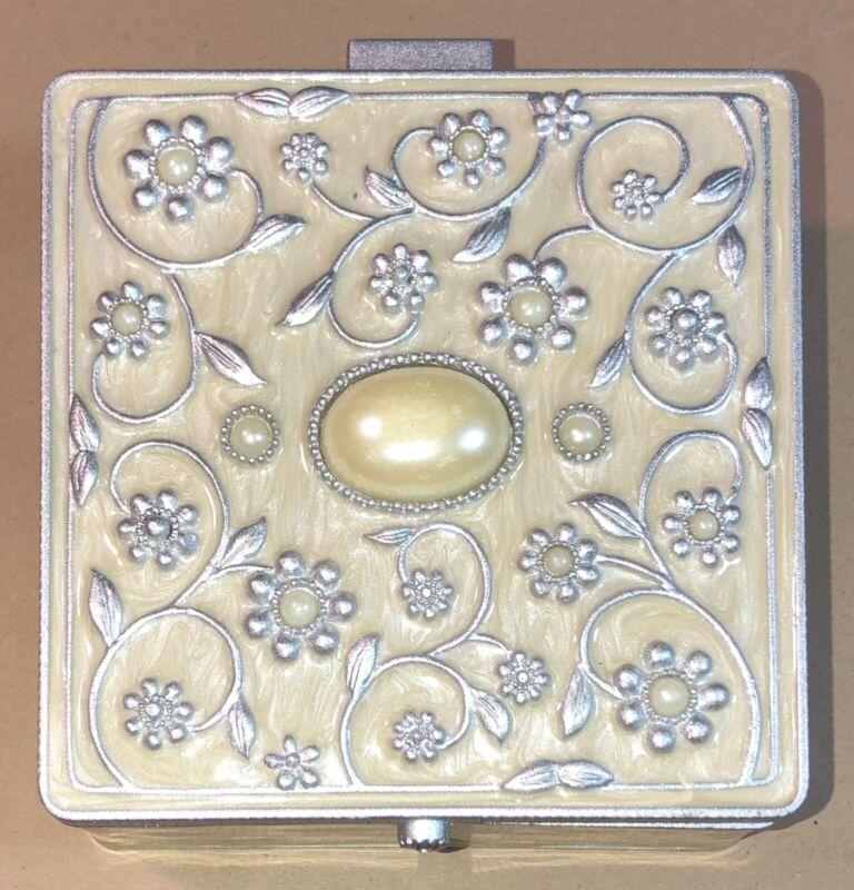 Enamel/Pewter Trinket Box Mirror Black Felt Tray Faux Pearl Silver Embellishmnts