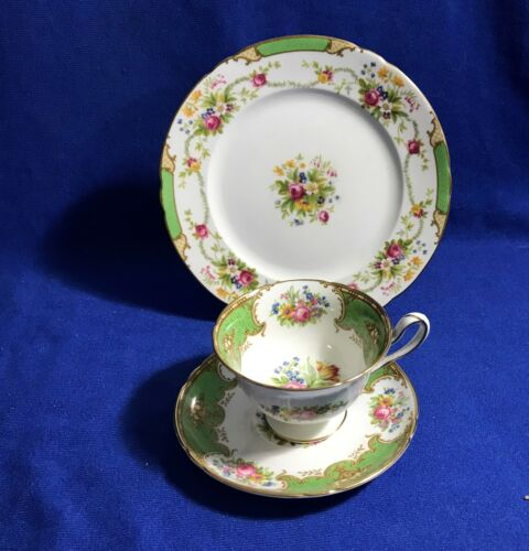 3  PCS SHELLEY GREEN DUCHESS PLATE CUP SAUCER    13402