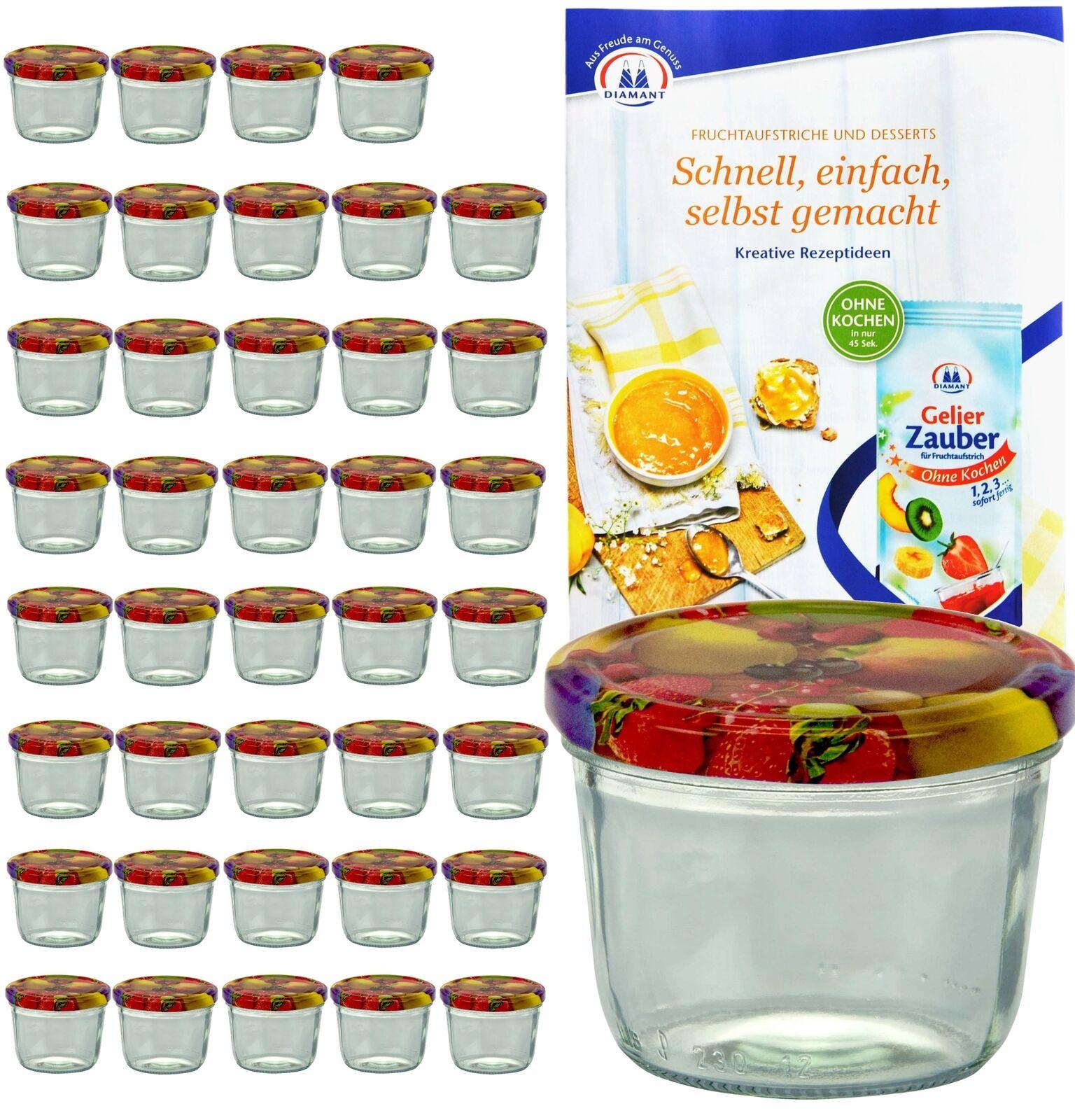 40 Sturzgläser 230ml Obst Dekor Deckel Marmeladenglas Einmachgläser Einweckglas