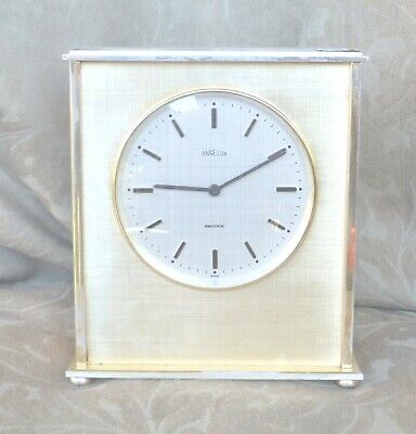 VINTAGE ANGELUS ELECTRONIC PLATINUM HEAVY BRASS MANTEL DESK CLOCK SWISS