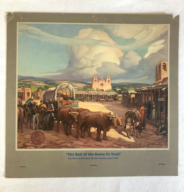1940 Vintage Santa Fe Railroad Company Lithograph Calendar Top