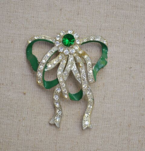 Antique/vintage pot metal bow brooch rhinestone green enamel tied rememberance